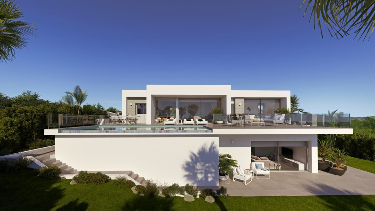 A Luminous designer villa on two floors, located in a quiet residential area with magnificent sea vi, Spain